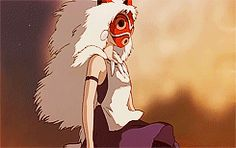 The Princess of the Wolves | Princess Mononoke | Miyazaki | Studio Ghibli | (gif)