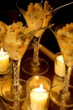 Mini Mac & Cheese in wine glasses -- how apropos served with my favorite La Crema wine