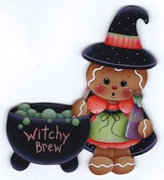 HP GINGERBREAD Witchy Brew FRIDGE MAGNET #Handpainted