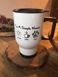 I'm a simple woman, i like sunshine dogs and coffee. Perfect present for Doglovers. Find more designs at: www.dog-fanshop.com Dog Coffee, Shops, Dog Shirt, Mugs, Simple, Tableware, Sunshine, Camping, Woman