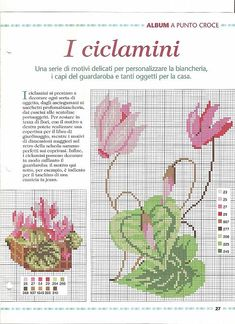 Cyclamen flowers various sizes cross stitch pattern - free cross stitch patterns crochet knitting amigurumi Cross Stitch Rose, Cross Stitch Flowers, Cross Stitch Embroidery, Cross Stitch Designs, Cross Stitch Patterns, Crochet Patterns, Flower Chart, Vintage Embroidery, Quilt Blocks