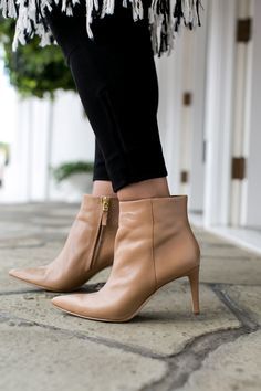 """Obsessed with these pointy-toe Sam Edelman booties for fall. This silhouette is such a sleek update to the classic stacked heel bootie—and it""""s just as comfortable. @Nordstrom"""