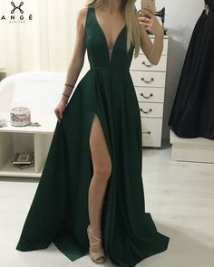Simple Dress Long Dresses formal Awesome Dark Green Long A Line evening Dress Side Split V Neck Floor Length Simple Prom Gowns 2019 High Quality Women Prom Party Gown Chiffon Prom Dress A Line Evening Dress, Formal Evening Dresses, Evening Gowns, Cheap Prom Dresses, Casual Dresses, Long Dresses, Dress Long, Party Gowns, Prom Party