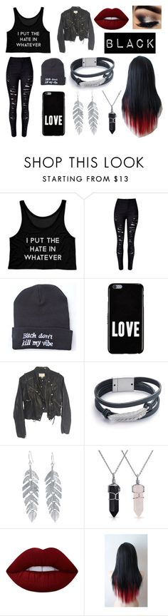 """Black Attack"" by musicsk8 ❤ liked on Polyvore featuring Givenchy, H&M, Belk Silverworks, Bling Jewelry, Lime Crime, love, fab, black, croptop and emo"