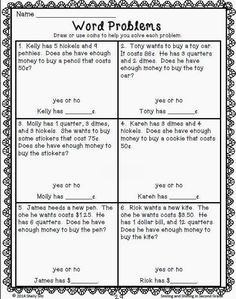 Money Word Problems - - aligned with grade Common Core Math Standard Word Problems 3rd Grade, Second Grade Math, Grade 2, Time Word Problems, Counting Money Worksheets, 2nd Grade Math Worksheets, Number Worksheets, Capacity Worksheets, Writing Worksheets