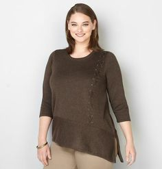 0b433fd84d5 Plus Size Lace-Up Asymmetrical Sweater  plussize  fashionaddict  trends   fashion