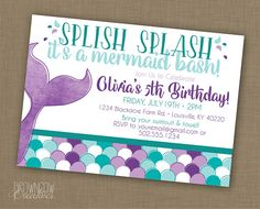 Mermaid Birthday Party Invitation, PRINTABLE Invitation, Under the Sea Party, Mermaid Invitation Mermaid Party Invitation Mermaid Theme Birthday, Little Mermaid Birthday, Mermaid Party Invitations, Birthday Party Invitations, 6th Birthday Parties, Birthday Ideas, Birthday Design, Birthday Recipes, Tarjetas Diy