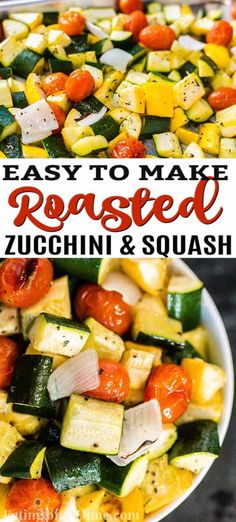 Roasted zucchini and squash recipe is one of our favorite and easiest go to side dish recipes. It is the perfect sheet pan recipe for a delicious side dish.