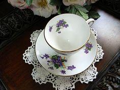 Violets Teacup Tea Cup and Saucer - Queens Royal Fine Bone