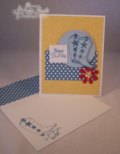 Everything about this card says Kick Up Your Heels and have a Happy Birthday!  Bootiful Occasions Stamp Set, Polka Dot Parade Designer Paper  http://stampingcountry.typepad.com/stamping_country/2013/03/kick-up-your-heels-with-bootiful-occasions.html
