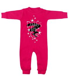Daddy's Little Star Hot Pink Long Sleeve Romper by My Baby Rocks. Father's Day gift ideas for a new dad!