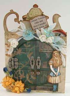 Alice in Wonderland Tea Time Heads Peak a Boo Card -  Mixed Media Collage Laura Carson
