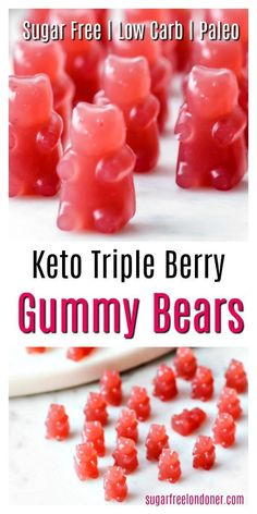 Move over, Haribo! These homemade triple berry Keto gummy bears are a super heal… Move over, Haribo! These homemade triple berry Keto gummy bears are a super healthy sugar free treat. The whole family will love these fruity gummies! Low carb and Paleo. Macros Dieta, Sugar Free Gummy Bears, Keto Diet Drinks, Diet Foods, Keto Snacks, Sugar Free Snacks, Sugar Free Diet, Diet Meals, Detox Drinks