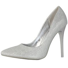 DailyShoes Womens Classic Fashion Stiletto Pointed Toe High Heel Dress Pump Shoes Silver Glitter 8 BM US -- Continue to the product at the image link. (This is an affiliate link) Stiletto Pumps, Pointed Toe Pumps, High Heel Pumps, Pump Shoes, Shoes Heels, Silver Wedding Shoes, Beautiful High Heels, Casual Heels, Designer Heels