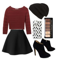 """""""Edgy fall outfit likey or nah"""" by ellakonst ❤ liked on Polyvore featuring MSGM, Rebecca Minkoff, Topshop, Giuseppe Zanotti and Phase 3"""