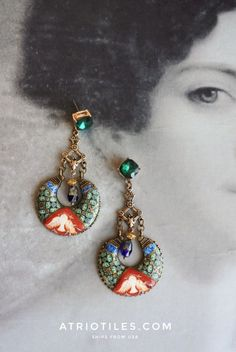 Portugal Antique Azulejo Tile Replica Chandelier Earrings
