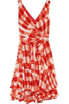 Rosie Huntington-Whiteley OSCAR DE LA RENTA Printed silk-chiffon dress