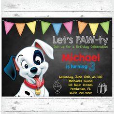 Puppy Birthday Invitation, Puppy Theme Party, 101 Dalmatians Invitation, Disney Invitation, 101 Dalmatians