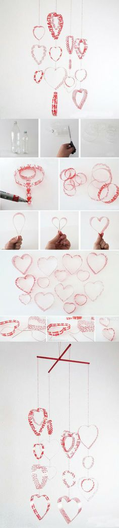 Plastic Bottle Red Hearts DIY