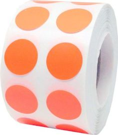 "1,000 Orange Dot Stickers - Small 1/2"" Inch Round Adhesive Labels"
