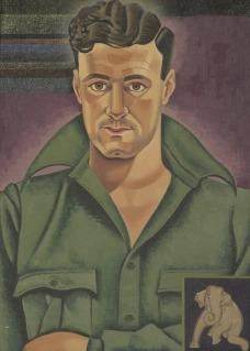 Rita Angus (New Zealand 1908 - 1970), Lawrence Baigent, o/c, 1938-39/1943. Angus and Lawrence had much in common but importantly, both were pacifists. Angus painted this portrait in the late 1930s, adding the elephant in 1943, while looking for new symbols to express her pacifist beliefs. The elephant is one of the motifs from the Ajanta caves of India. Collection Museum of New Zealand Te Papa Tongarewa, Wellington, NZ.