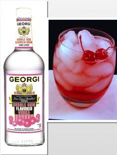 Bubble Yum on the Rocks: 2 oz.  Georgi Bubble Gum Flavored Vodka/ 1 oz. Cranberry Juice/ 2 oz. Cream Soda  Pour over Ice/ Garnish with Cherries