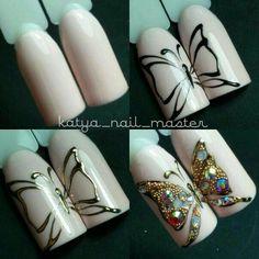 Cat Nail Art, Animal Nail Art, Cat Nails, Nail Art Diy, Butterfly Nail Designs, Butterfly Nail Art, Nail Designs Spring, Cool Nail Designs, Sparkle Nails