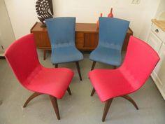 ≥ Prachtige set van 4 vintage retro stoelen - Stoelen - Marktplaats.nl