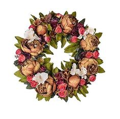 LOUHO-Large-Blooming-vintage-Flower-wreath-handmade-home-wall-decor