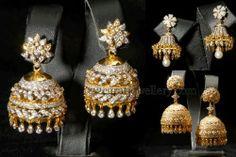 Jewellery Designs: Indian Diamond Jhumkas or Buttalu