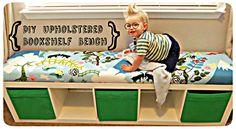 DIY Padded Bookshelf Bench - brilliant alternative for expensive upholstery foam!