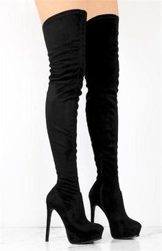 Fashion Heels, Fashion Boots, Latex Fashion, Fashion Fashion, Winter Fashion, Knee High Boots, Over The Knee Boots, Long Boots With Heels, Black Thigh High Boots
