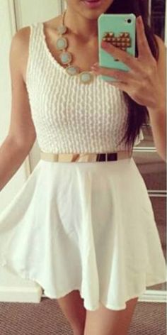 Designer Clothes, Shoes & Bags for Women White A Line Dress, Love Her Style, Skirt Fashion, Chiffon Dress, Nice Dresses, Two Piece Skirt Set, Elegant, Color, Women