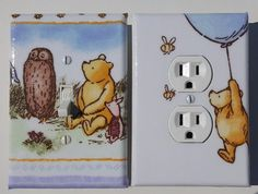 Classic Winnie the Pooh Fabric | Light Switchplate and Outlet Cover