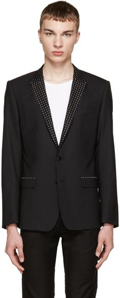 Image of Dolce and Gabbana Black Printed Lapels Blazer
