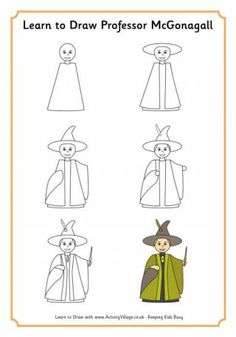 Learn to draw Professor McGonagall, Hogwarts' Deupty Head and Headmistress, fierce defender of Harry Potter and the Hogwarts student, and powerful wizard! -- Activity Village is a Small Publishing website.