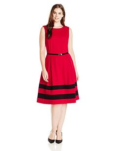 Calvin Klein Women's Plus-Size Sleeveless Color Block Belted Dress, Red/Black