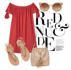 Red & Nude by linda013 on Polyvore featuring polyvore fashion style MANGO Miss Selfridge Monki clothing