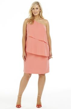 Diagonal layer Dress - Deep Peach Style No: D2198 Microfibre Twill Fabric one Shoulder Dress. This dress is fully lined and has diagonal layers on the front and a sleek plain back . It has a side seam invisible zip. #dreamdiva #dreamdivafiles #plussize