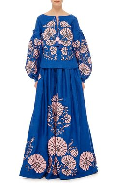 Flower Shells Linen Princess Blouse by YULIYA MAGDYCH for Preorder on Moda Operandi