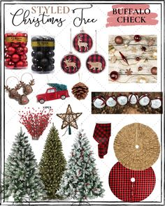 Affordable Christmas Tree Decor Ideas - - It's the most wonderful time of the year. October is not even over, yet I. Rose Gold Christmas Tree, Flocked Christmas Trees, Woodland Christmas, Green Christmas, Rustic Christmas, Plaid Christmas, Red Black White Christmas, Xmas, Primitive Christmas