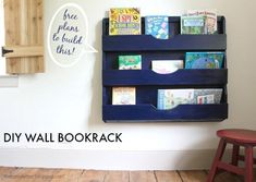 Cute DIY bookshelf - looks easy to build! Free plans and tutorial!