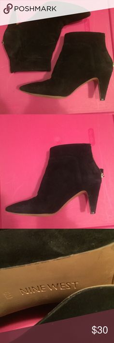 Nine West sz 6 EUC black suede pointy booties Nine West sz 6 EUC black suede pointy booties Nine West Shoes Ankle Boots & Booties