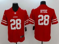 $23 Men's San Fransico 49ers #28 Carlos Hyde Red Vapor Untouchable Player Nike Limited Stitched Jersey