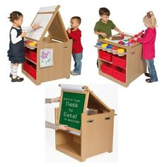 Desk to easel art cart- great for space saving and encouraging art in your playroom.