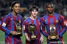 Ronaldinho  Messi y Eto´o Barça 2005/2006