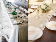 burlap table runners #weddings #burlap #table #decorations