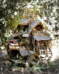 Fairy treehouse in the woods, by Debbie Schramer: http://beautiful-art.blogspot.com