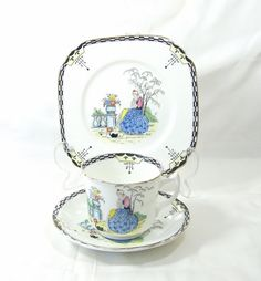 Art Deco   Fine bone china J.H.Cope &co  by TheMewsCottage on Etsy, £28.00