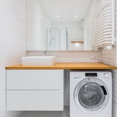 Should you leave space for a full-size laundry when renovating an apartment? When working with a tight floor plan, it can be hard to justify the laundry taking up an entire room. But there are other options. Laundry Bathroom Combo, Laundry Nook, Small Space Bathroom, Large Bathrooms, Bathroom Renos, Bathroom Flooring, Casa Milano, Bathroom Interior Design, Machine Service